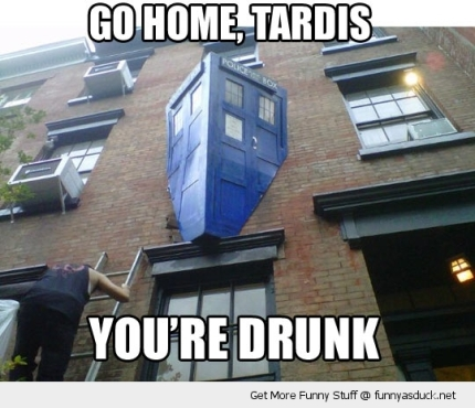 funny-tardis-doctor-who-smashed-building-go-home-drunk-pics
