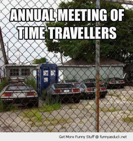 funny-tardis-dr-who-delorean-back-future-caravan-mobile-home-park-time-travellers-meeting-pics